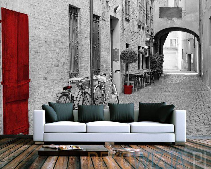 Fototapeta z Włoską uliczką z rowerami