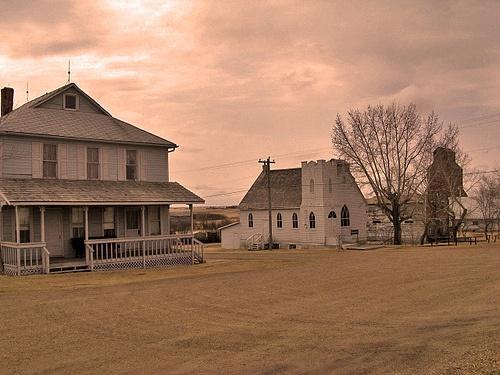 Beautifully restored ghost town of Rowley, Alberta.   http://en.wikipedia.org/wiki/Rowley,_Alberta