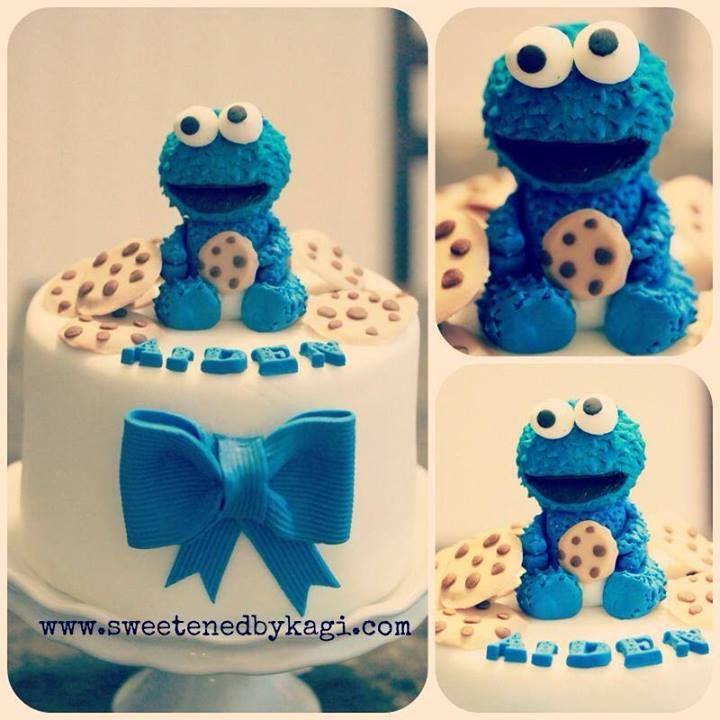 Elegant Cookie Monster Baby Shower Cake