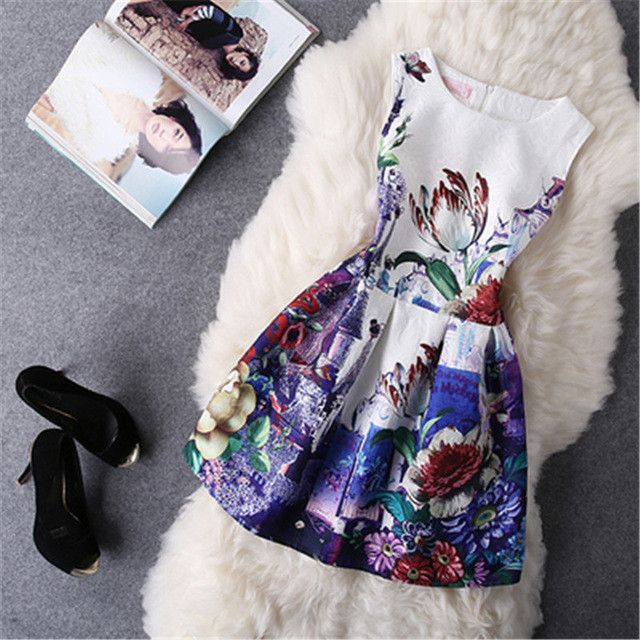 Fashion 2016 O-Neck Above Knee Tutu Women Dress Animal Pattern Printed Sleeveless Floral Ball Gown Dress WAIBO BEAR