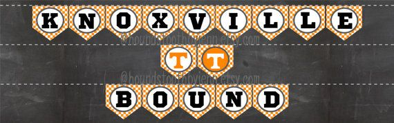 """KNOXVILLE BOUND"" Pennant Printable Orange Checkerboard background pattern banner for UT University of Tennessee bound graduation party DIY"