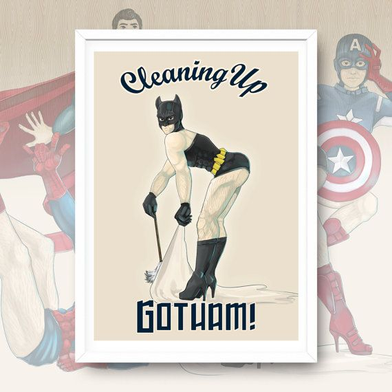 Cleaning Up Gotham Batman PinUp Artwork Print Giclee Art by Enixy