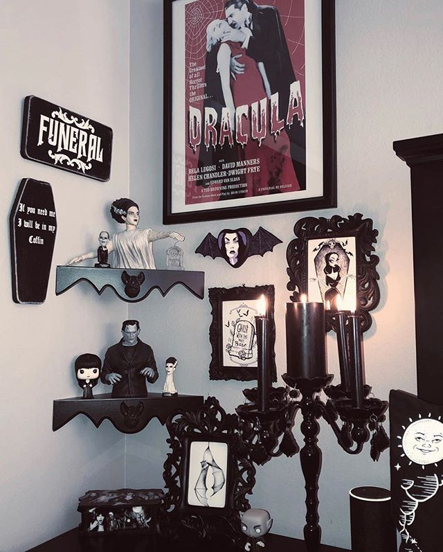 Love Molly80sgirl Pics Our Corner Bat Shelves Go Perfectly With Her Spooky Decor Im Loving Those Super Cool M Goth Home Decor Spooky Decor Horror Decor