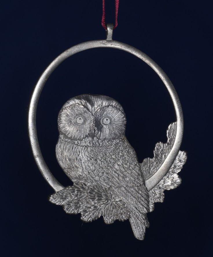 Amos Pewter Hanging Ornament -- Owl, dated 2013.