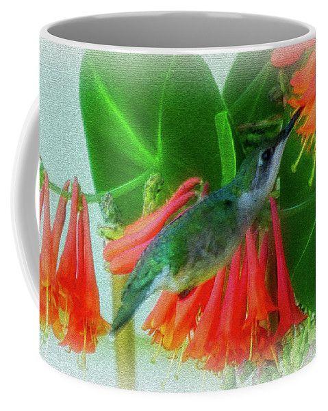 Honeysuckle Hummer Coffee Mug by Leslie Montgomery.  Small (11 oz.)