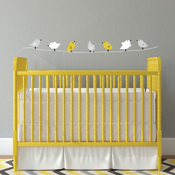 Birds on a Wire Wall Decal, Nursery Vinyl Wall Decals for Girls Bedroom Wall Decor