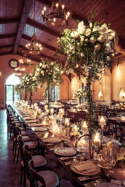 Summer Trends - High Centerpieces #wedding #trendsReceptions Decor, Outdoor Wedding, White Flower, San Diego, High Centerpieces, White Rose, Tall Centerpiece, Wedding Reception, Long Tables