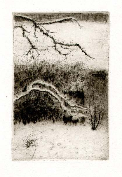 Bohuslav Reynek Zahrada v zimě / Garden in Winter suchá jehla / dry point 12 x…