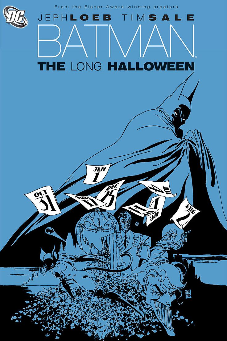 Batman: The Long Halloween | Jeph Loeb, Timm Sale -- A brilliantly executed take of Batman in his detective roots, solving a series of chilling murders that culminates in the great tragedy of Harvey Dent. With Sale's visceral artwork, the insanity of Gotham shines through in every panel.