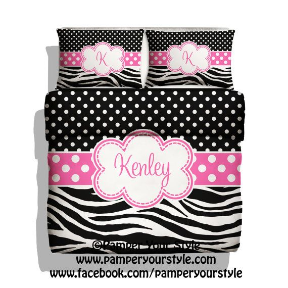 Polka Dot and Zebra Bedding with Matching Shams -  Personalize with Name or Monogram - Pick Your Color and Size - Create My Own Bedding on Etsy, $139.00