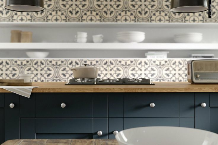 Classic Contemporary Shaker Kitchen In Dark Blue And Off