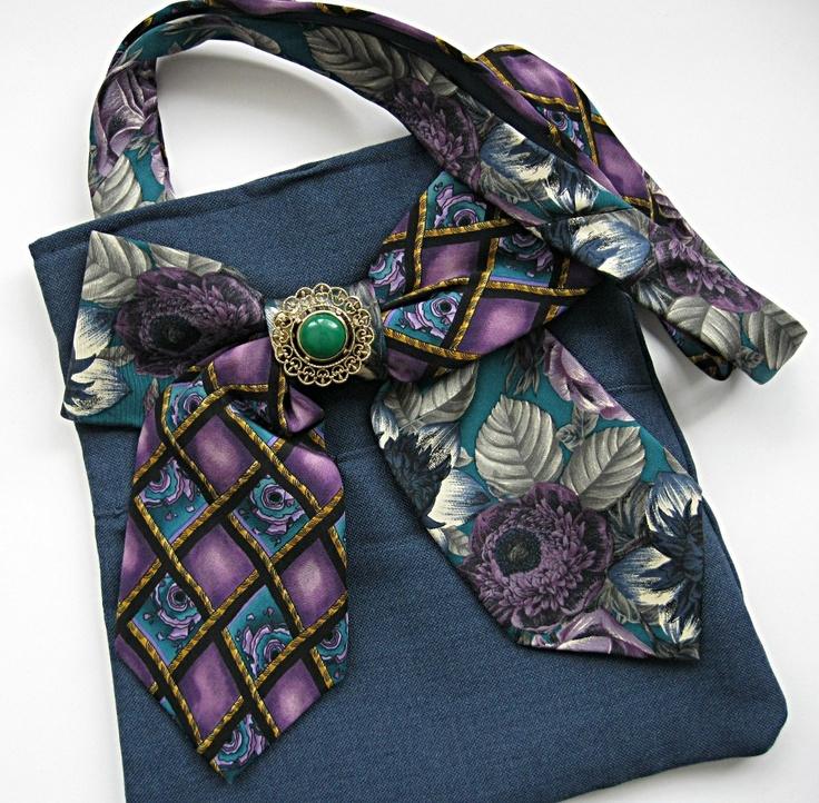 Tote bag deep sky blue men's repurposed suit coat with purple and green silk neckties. $54.00, via Etsy.