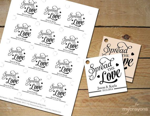 Spread the Love Printable Tags // Instant Download by MyCrayons // Editable Favor Tags, Spread the Love Tags, Jam Wedding Favors