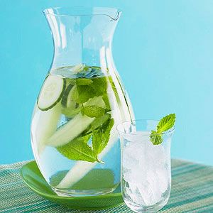 Cucumber Mint Water Soak melon, mint, and cucumber in water for a cooling and calorie-free summertime drink.