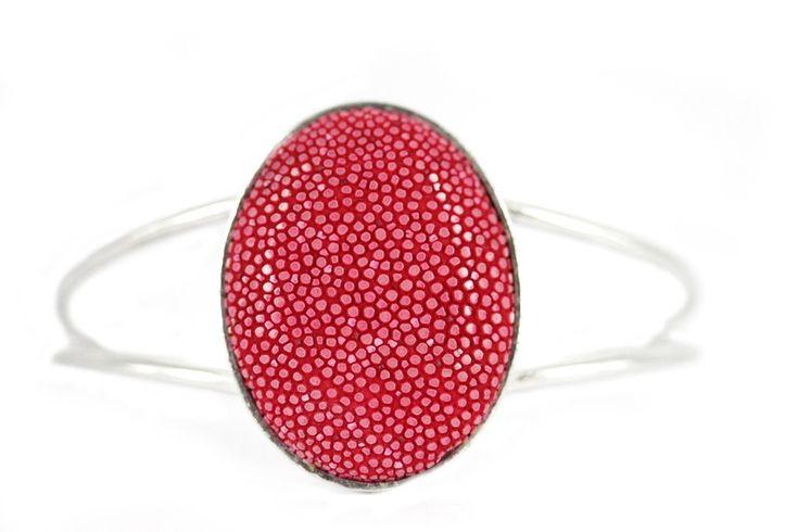 """Bracelet Galuchat corail""-Bracelet femme en galuchat"