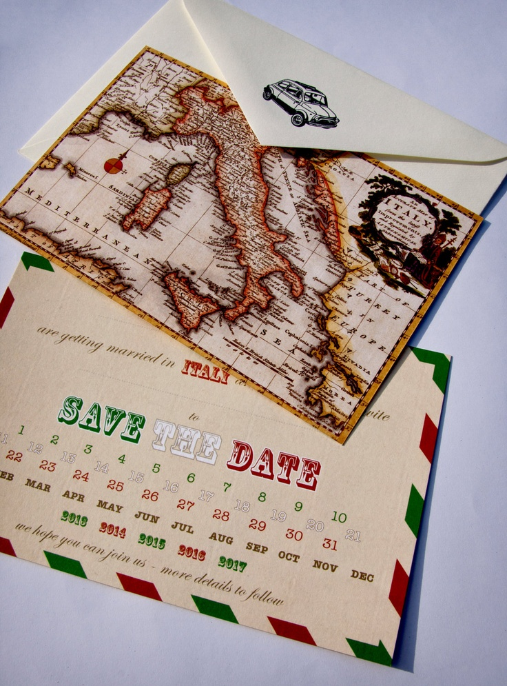Italian wedding invitations - Vintage map of Italy Save the Date cards - Pack of 10. £10.99, via Etsy.