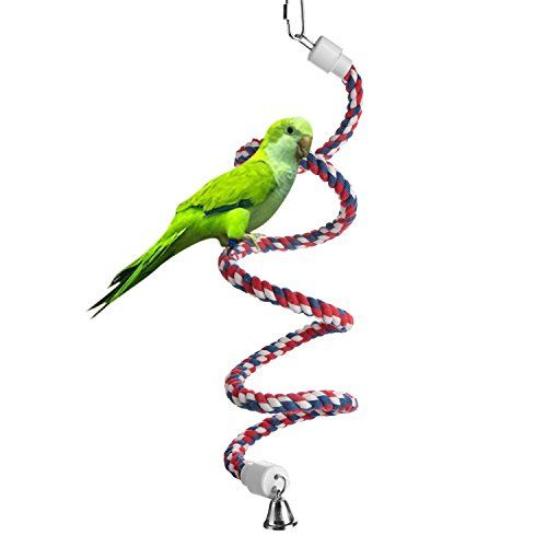 Aigou Bird Spiral Rope Perch Cotton Parrot Swing Climbing Standing Toys with Bell (Small  52 inch)