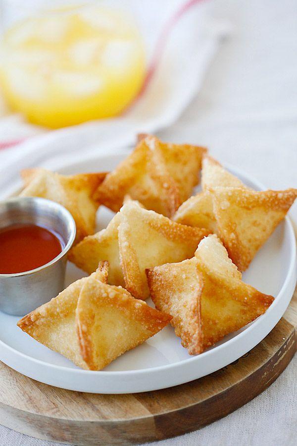 Crab Rangoon recipe with cream cheese and wonton wrapper. | rasamalaysia.com