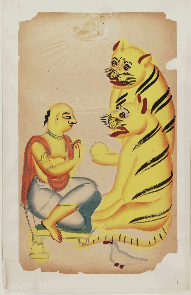 Kalighat paintings - a Brahmin kneeling before two tigers