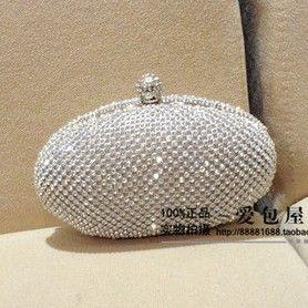 2014 New Women's Rhinestone Clutch. Luxury Full Diamond Party Handbag Evening Bag Chain Shoulder Messenger Mini Bag Black Silver