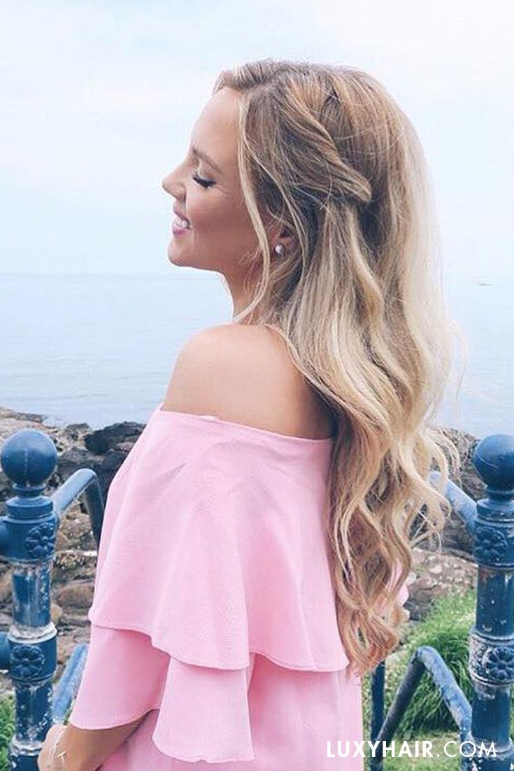 Think happy, be happy <3 The gorgeous @ellepearls is looking pretty in pink and her Dirty Blonde #luxyhairextensions.