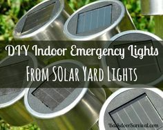 Make your own indoor emergency lights from inexpensive solar yard lights.  Detailed directions and lots of photos.    via www.BackdoorSurvival.com