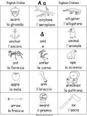 Italian picture-dictionary for children, with links to educational activities and games: http://www.enchantedlearning.com/italian/