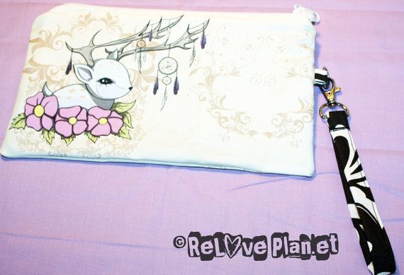 Dreamcatcher Fawn  Clutch Purse Wristlet Bag  by ReLovePlanet