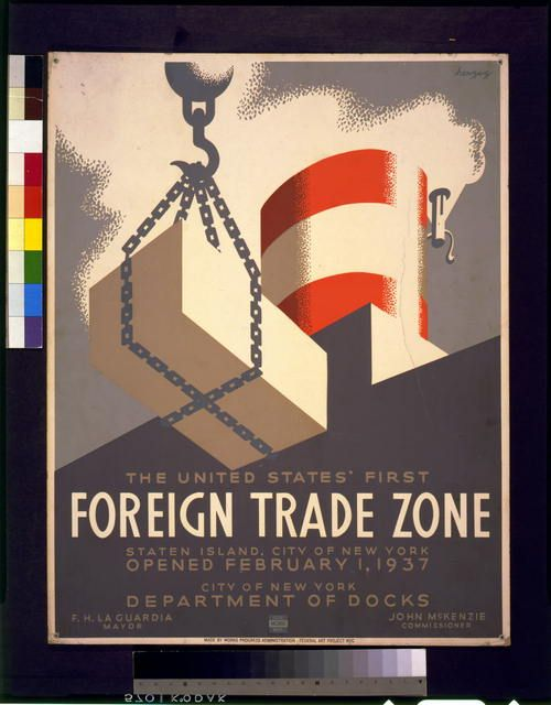 Vintage Poster Free Printables-The United States' first foreign trade zone, Staten Island, city of New York, opened February 1, 1937