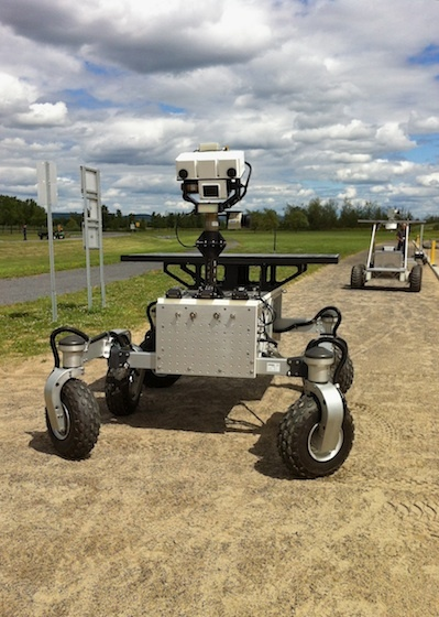 Rovers out for a spin at the Canadian Space Agency headquarters in Saint-Hubert, Quebec.
