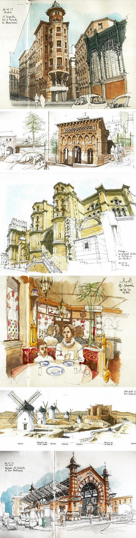 Luis Ruiz is an artist from Málaga, Spain who draws wonderful location sketches, particularly of architectural subjects.