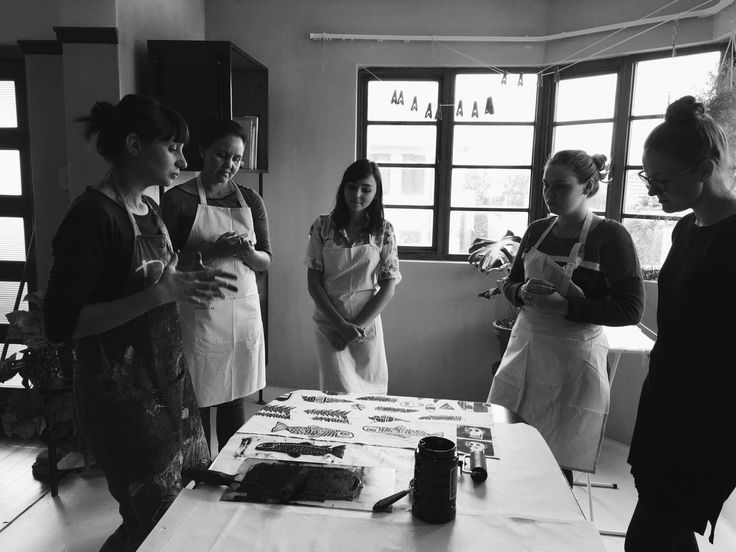 Learning about printing fabric at the Lichen & Leaf block printing workshop