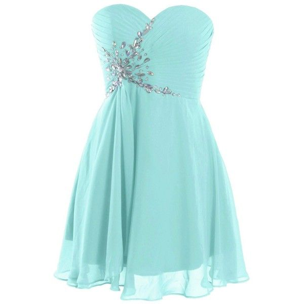 Fashion Plaza Short Strapless Sweetheart Prom Dress Crystal D0371 ($43) ❤ liked on Polyvore featuring dresses, light blue dress, short strapless dresses, sweetheart dress, prom dresses and short dresses