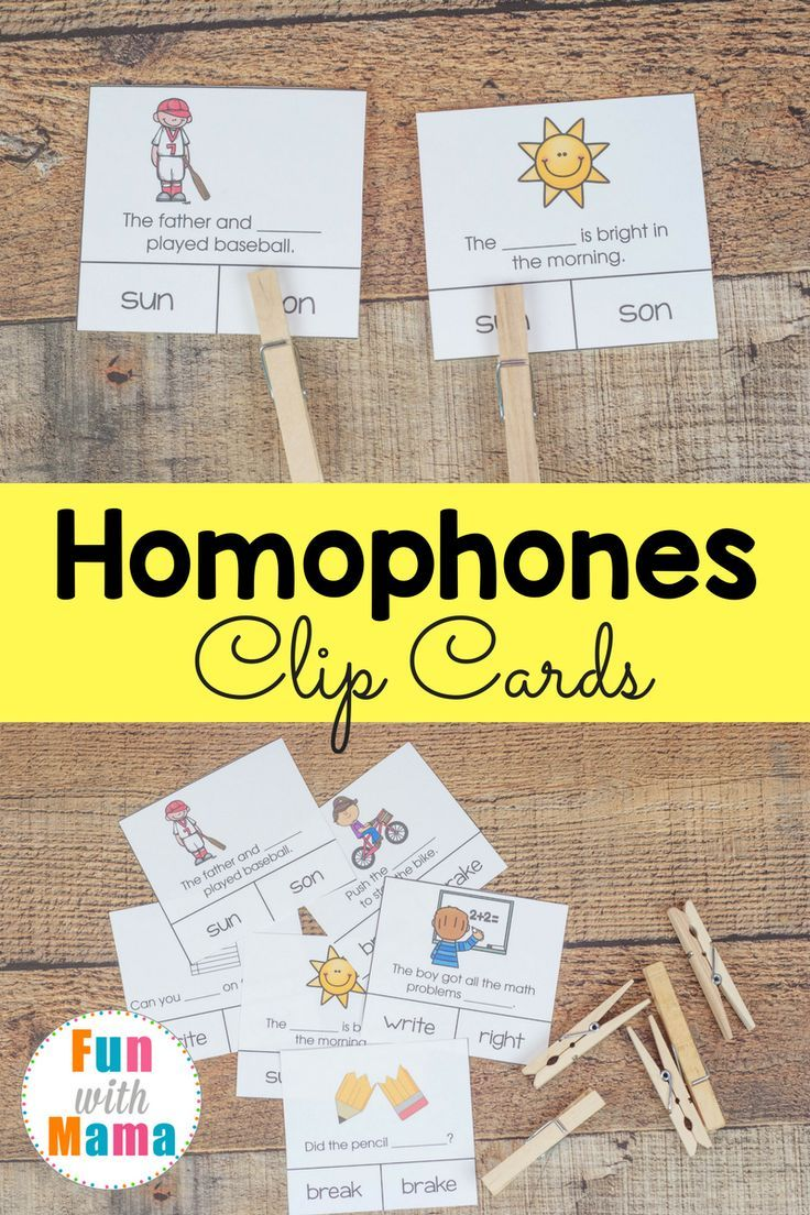 Word on homophones and spelling with these fun clip cards. Each features a different homophone set with a sentence example! via @funwithmama