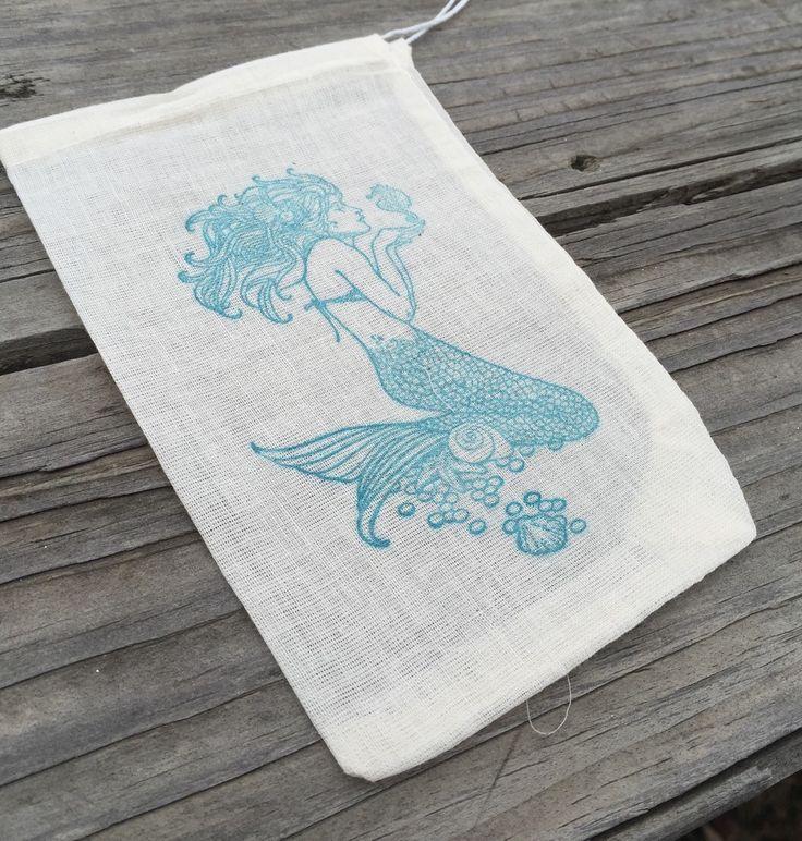 10 mermaid favor bags, mermaid party favors, beach wedding favor bags, beach party favors