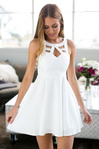 White Open Back Homecoming Dress,Crochet Back Skater Dress from FlyinDance