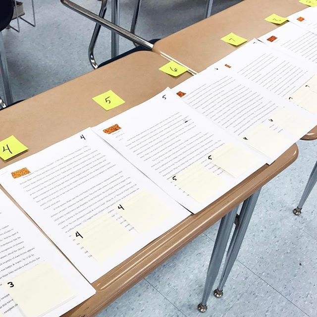 This is how I set up peer review for AP, but it could work for any class. I number across desks with sticky notes (you know I love them! ) for how many students I have in class. I use washi tape to cover the names because it comes off easily afterwards, and it's not see-through (but most of all bc it's pretty!). Then, I give each paper two sticky notes. I distribute the papers and the holistic rubric, and the students read and provide comments on the sticky notes. Once they're done, they pu