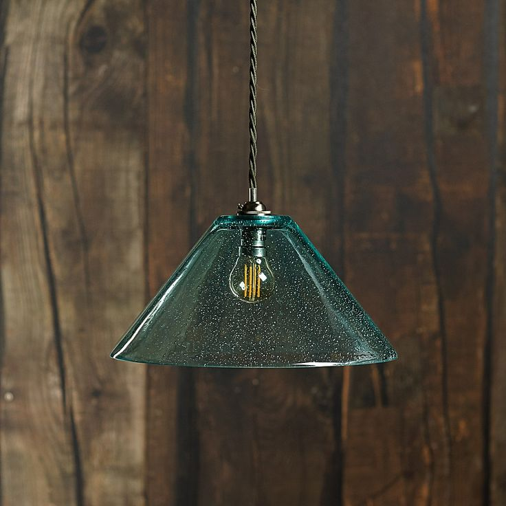 Dahlia clear blown glass bubble shade with classic pendant light kit in antiqued brass