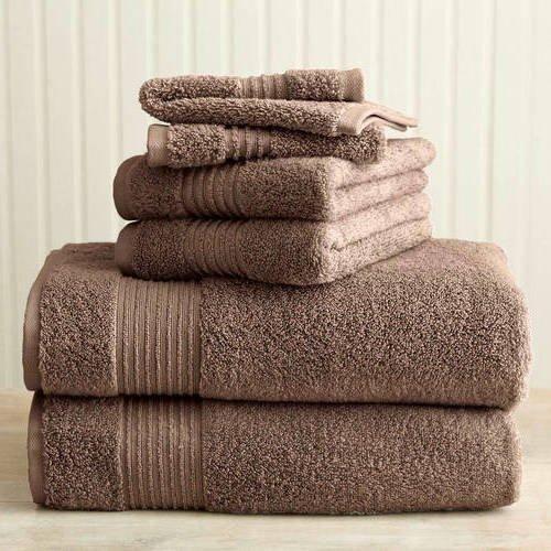 Mushroom Solid Color Towel Set 30 X 54 Bath Towels Light Brown Stripe Border Extra Absorbent Soft Cozy Fade Resistant Gorgeous Elegant Modern Stylish Towels Cotton