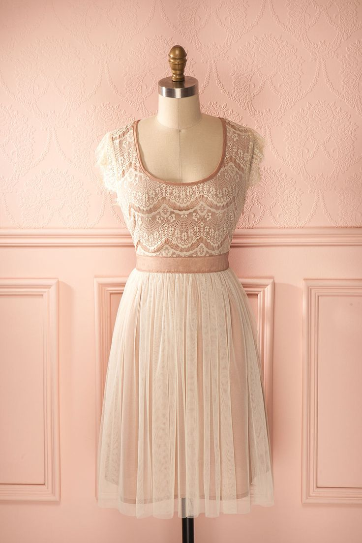 Lizelle - Dusty pink and ivory lace and tulle midi dress