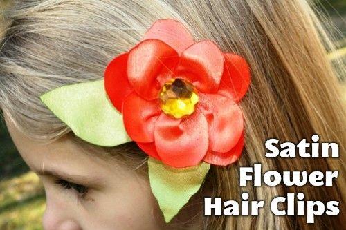 Satin Flower Hairclips -lovely homemade presents for girls
