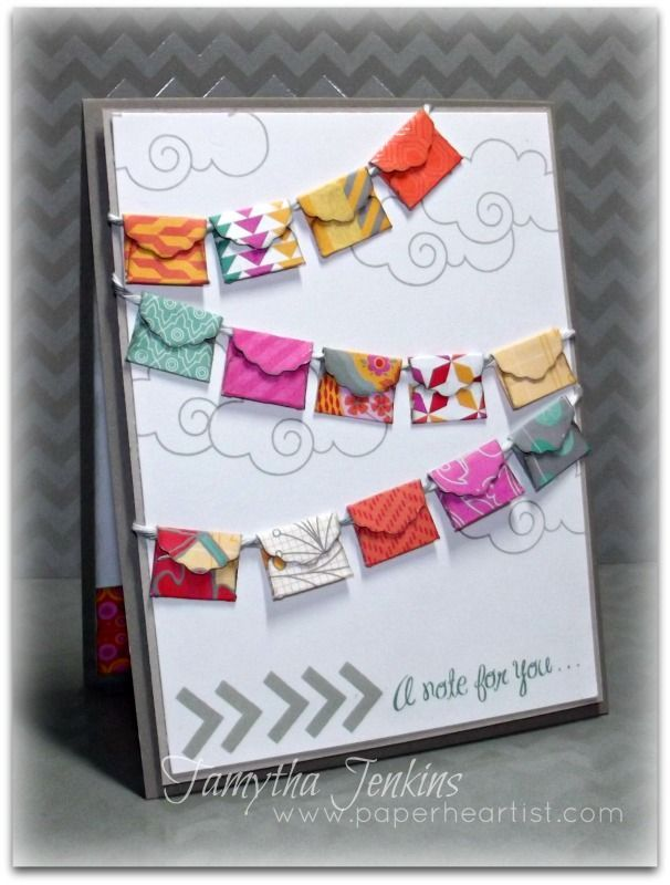 """A Note for You Card created by Tamytha Jenkins for Heart 2 Heart DT Inspiration.  Cut 1/2"""" envelopes from the Close To My Heart Artiste Cricut cartridge."""