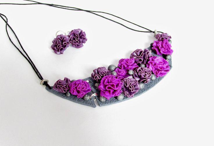 Karolína Kohy - set šperků z polymerové hmoty zdobené technikou Hanky Auterské