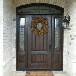thermatru entry door 2-panel plank soft arch sidelights - Google Search
