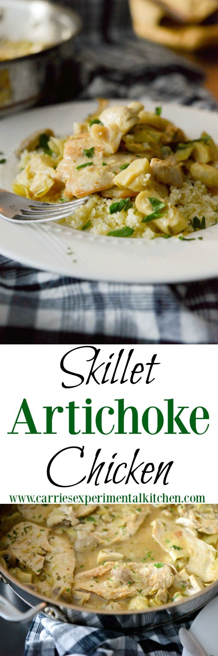 Skillet Artichoke Chicken made with boneless chicken breasts, artichoke hearts, garlic, rosemary and mushrooms in a light, lemony broth is a quick and easy, low fat meal that's ready in under 30 minutes. Perfect for busy weeknights or weekend get togethers.