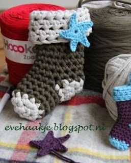 Kerst sok - Hoooked Zpagetti - Christmas stockings - Haken en Kralen... by EveLYn