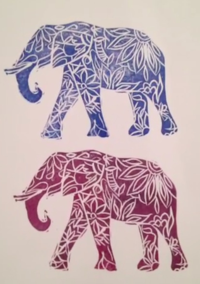 Made by Nicole: Painted Elephant Stamp and Art Journal Page