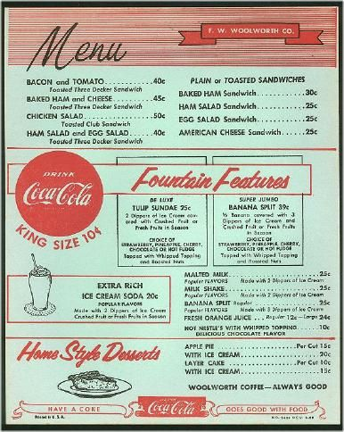 Vintage Woolworth's menu  Use as template to design sock hop menu  Use as reference for authentic menu items