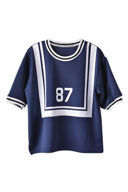87 印刷ストライプ プレッピー スタイル t シャツ ブルー