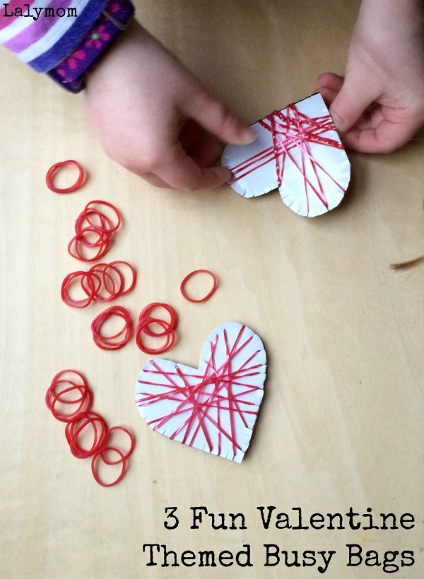 3 Fun Valentine Themed Busy Bags - Loom Bands Fine Motor Hearts